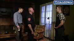 Masculine Cop Makes Hot Twink Blow Him