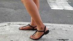 Sexy ebony feet in sandals 2