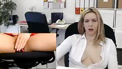 Office slut fingering her cunt