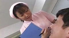 Japanese dentist and nurse spitting on patient