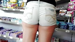 Slovakian young girl's ass on hungarian gas station