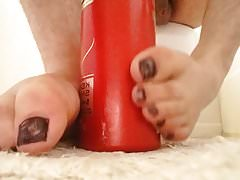 My young twink toes bottle footjob