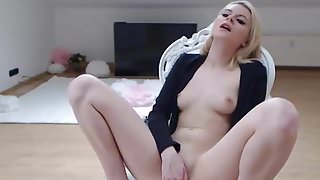 Blonde plays with the pussy.mp4