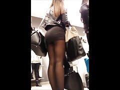 Girl in short skirt voyeur