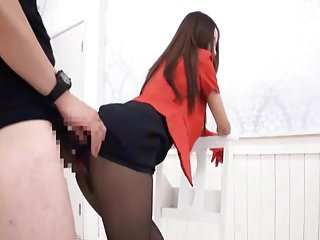 Japanese girl gets huge cum load on her satin skirt