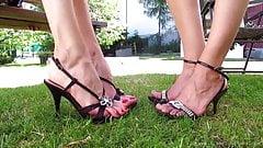 Tall MILFs show off feet