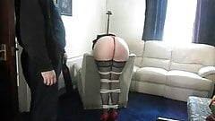 Tied spanking