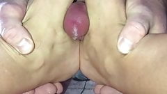 Foot job sexy feet for daddy little cock