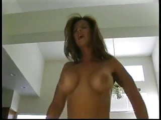 Busty brunette gives blowjob, rides and bends over