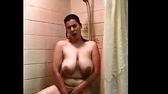 Chubby Wife Standing Shower Masturbation