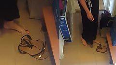 Hot blonde girl's sandals cummed - she puts them on! (HD)