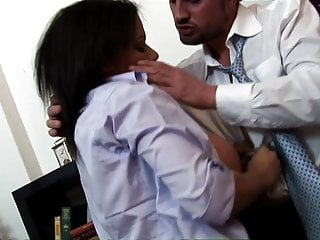 Sexy secretary Alexis Silver titty fucks while her friends help her to cum