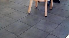 Candid Woman in Sandals waiting for her order feet face