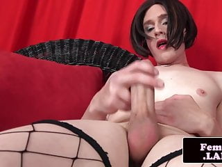 Preview 6 of Stockinged amateur trans tugging her cock