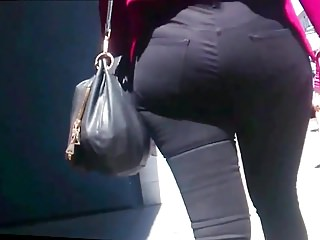 Amazing Wide Hips Round Ass Candid Black Jeans