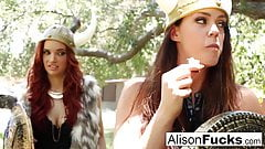 Sexy Viking girls Alison & Jayden Cole fuck each other