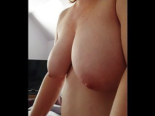 playing with my cock, big hanging tits
