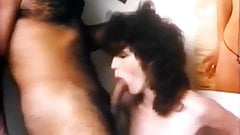 Retro hairy pussy riding the cock