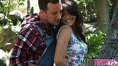 Tiny brunette Adria Rae rides her fuck buddy outdoors
