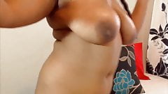 Ebony daddy girl with sweet smile and huge areolas