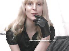 Blonde milf in leather gloves make you kinky fetish slave