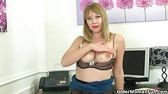 British and hard nippled milf Abi strips off