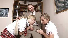 Horny teacher fucks two gorgeous schoolgirls in his office