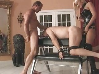 Dominate couple using submissive male
