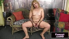 Transitioning femboy tugging her cock