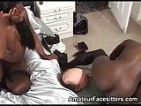 2 sturdy black girls facesit a much older grandpa