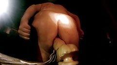 Bear takes a dildo up the ass