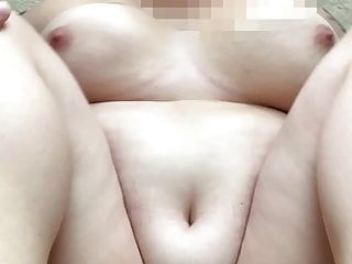 Rubbing clit and leaky creampie wife