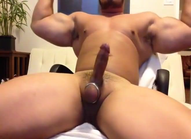 Beefy asian boy beats his penis