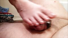 Ruined orgasm in chastity under sexy toes