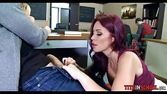 Smoking Redhead Teacher gets Her Pussy eaten at School