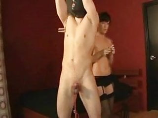 Master Tied My Cock And Balls To The Floor