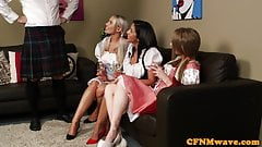 CFNM femdoms sucking sub in british threesome