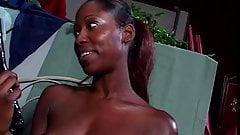 Ebony hottie uses a double-dildo