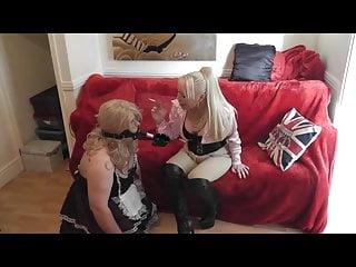 Mistress uses Sissy as Ashtray