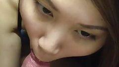 Asian girl was sucking dick