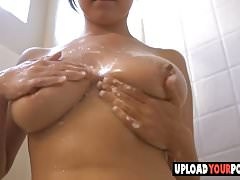 Big tit Marie taking a shower