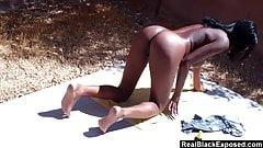 Sunbathing Big Tits Ebony Masturbates In The Backyard