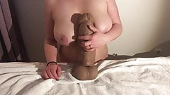 Mr. Hankey's Nick Capra XXXL dildo vs Big natural boobs