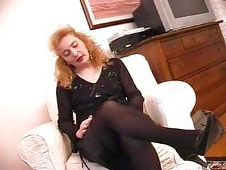 Italian milf in stockings hot masturbation
