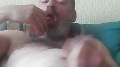 Suck limp fake penis and cum eating