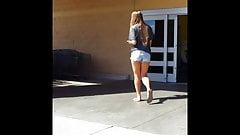 Candid voyeur thick hot blonde at Walmart in shorts