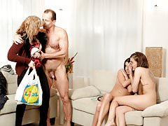 DADDY4K. Mom's two daughters getting naughty in her...