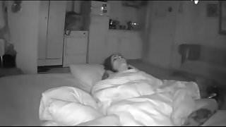 Woman Fingers Herself to Orgasm under Blanket - Hidden Cam