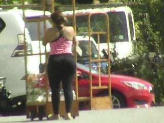 candids - thick ebony booty & hips in tight blk pants