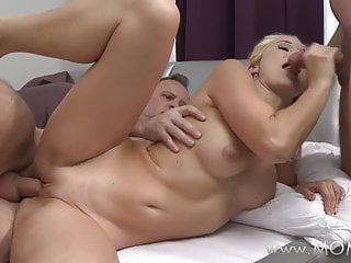MOM MILF takes two large cocks